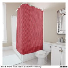 Blue & White Stars on Red Shower Curtain