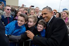 Idaho, Jan. 21, 2015. Posing for a photo with kids at Boise Airport. (Official White House Photo by Pete Souza)