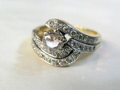 A Wonderful Swirled Top Vintage Diamond Engagement Ring