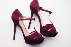 elegant purple - red tbar heels