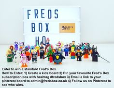 Enter our competition to win a standard Fred's Box. This is the best kids subscription sending minifigures direct to your door either monthly or as a one off.  The rules of the competition can be found at : http://fredsbox.co.uk/p/competition-rules.