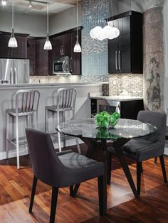 Small space interior: Chic condo | Dining area, Condos and Black ...