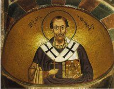 Иоанн Златоуст. Мозаика, монастырь Осиос Лукас, Греция