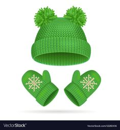Hat with a Pompom and Mitten Set Royalty Free Vector Image Winter Clipart, Christmas Clipart, Winter Wallpaper, Christmas Wallpaper, Paper Clothes, Green Hats, Stained Glass Projects, Warm Outfits, Everyday Objects