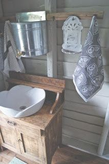 I like the tap idea. I think that could work well for a hand washing station. Just need to top them up throughout the day. would also work for the mud kitchen possibly? Cottage Garden Plan, Cottage Garden Design, Cottage Gardens, Outside Toilet, Outdoor Toilet, Small Attic Bathroom, Eclectic Bathroom, Small Cabin Kitchens, Garden Shed Interiors