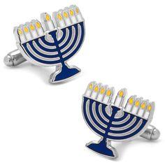 Silver Plated Hanukkah Menorah Cufflinks