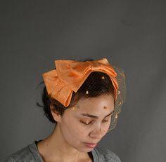 Vintage 1960s Hat, 60s Hat fascinator bow velvet bow polka dot netted. $30.00, via Etsy.