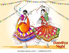 Festivals Of India, Indian Festivals, Indian Art Gallery, Indian Artwork, Dandiya Dress, Saree Painting Designs, Happy Navratri Images, Festival Paint, India Poster