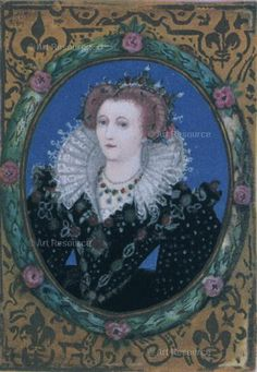 Hilliard, Nicholas (1547-1619) Elizabeth I (1533-1603), Queen of England. Miniature from her Small Prayer Book, written by the Queen herself.
