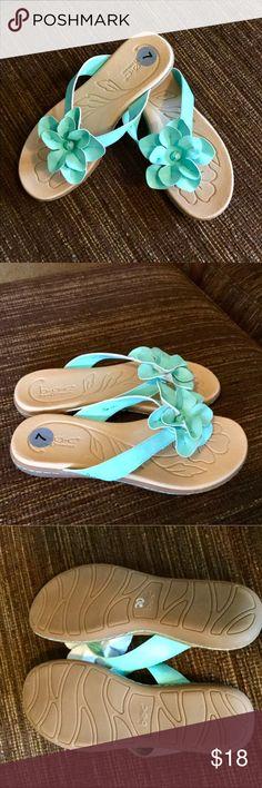 Brand new ladies mint flip flops!! Brand new ladies mint flip flops. Super cute!! Shoes Sandals