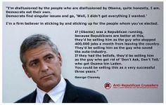 George Clooney on being disillusioned by the people who are disillusioned by Obama.