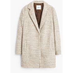 MANGO Bouclé Wool Coat ($52) ❤ liked on Polyvore featuring outerwear, coats, jackets, coats & jackets, pink wool coat, long sleeve coat, lapel coat, fur-lined coats and pink coat