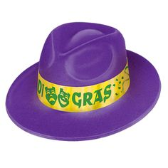9c3b212b5a4 25 Units of Mardi Gras Velour Fedora one size fits most - Party Hats   Tiara