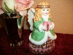 Angel Bell Love Heart Handpainted Vintage Ceramic Girl Figurine Valentine's Day…