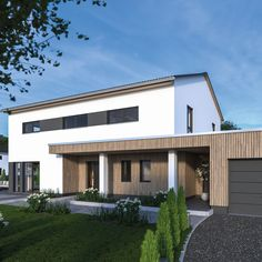 Exterior with terrace construction (something like that) - Architecture Modern Residential Architecture, Architecture Résidentielle, Cultural Architecture, Education Architecture, Classic Architecture, Terrace, Construction, House Design, House 2