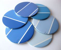 Shades of blue Dyi Crafts, Cute Crafts, Crafts For Kids, Arts And Crafts, Paper Crafts, Paint Chip Art, Paint Chips, Chip Ideas, Craft Projects
