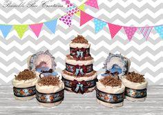 Hanging Monkey Blue Print Diaper Cake Set by BumbleBeeCreations83