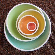 Rainbow Pottery Nesting Bowls - Large Ceramic Stoneware Serving Set