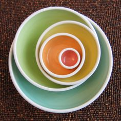 Rainbow Pottery Nesting Bowls - Large Ceramic Stoneware Serving Set on Etsy…