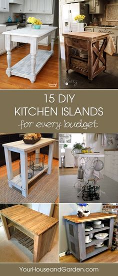 Kitchen Decorating Here you can find 15 DIY kitchen islands that you can build yourself – without breaking the bank. - Here you will find 15 DIY kitchen islands that you can build yourself - without breaking the bank. Kitchen Ikea, Diy Kitchen Island, Kitchen Redo, Diy Kitchen Ideas, Kitchen Peninsula, Basement Kitchen, Kitchen Island Without Cabinets, Moving Kitchen Island, Kitchen Storage
