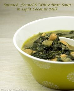 Spinach, Fennel and White Bean Soup in Light Coconut Milk on http://blog.sigsiv.com