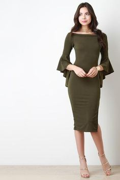 This olive midi dress features stretch fabric, off the shoulder neckline, long…                                                                                                                                                     More