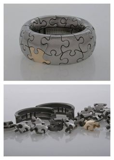 Yael Friedman; 30P Puzzle ring-Stainless steel and 14K http://www.yayo-design.com/puzzles_lb http://www.eurekapuzzles.com/buy/28453/14k-gold-sterling-silver-30-piece-puzzle-ring