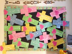 "Easter bulletin board ""For God so loved the world..."""