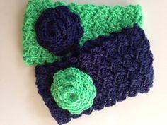 Seahawks headband Crochet Headband Crochet by BumbleBsAndChickaDs, $15.00