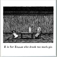 GoreyStore.com Z is for Zillah who drank too much gin Square Magnet