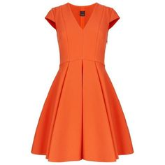 Pinko Crepe V-Neck Skater Dress ($305) ❤ liked on Polyvore featuring dresses, flared dress, orange skater dress, orange dress, cap sleeve skater dress and v-neck dresses: