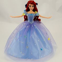 Fairytale Designer Ariel Doll in Royal Ball Cinderella's Outfit - Arms Outstretched to Her Sides - Full Front View Disney Barbie Dolls, Ariel Doll, Disney Princess Dolls, Ariel Disney, Princess Cartoon, Cinderella Toys, Cinderella Outfit, Frozen Toys, Ocean Wallpaper