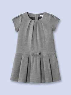 Jacadi Glee Herringbone Dress Woven herringbone dress Round neckline Gathered sleeves Tonal bow at waist Italian front pockets Rear zip closure Care: Machine washable Brand: Jacadi Origin: Imported Little Dresses, Little Girl Dresses, Girls Dresses, Frocks For Girls, Kids Frocks, Little Girl Fashion, Kids Fashion, Toddler Outfits, Boy Outfits