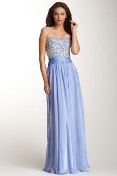La Femme Rhinestone Encrusted Sweetheart Dress
