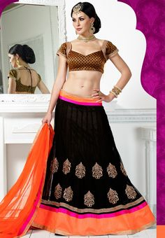You can be assured to make a great style statement with this black net lehenga. This lehenga is enhanced with sitara work all over.Buy this latest designer lehenga choli online .Paired with matching black sequins work choli and net dupatta Net Lehenga, Lehenga Choli Online, Lehenga Blouse, Anarkali, Sari, Wedding Lehenga Online, Black Lehenga, Indian Bridal Lehenga, Party Wear Lehenga