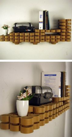Shelving from cardboard tubes.