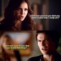 Damon and Katherine banters are the best😂😂😂😂 . Vampire Diaries Wallpaper, Vampire Diaries Quotes, Vampire Diaries Cast, Vampire Diaries The Originals, Tvd Quotes, Movie Quotes, Damon Y Elena, The Devil Inside, Vampier Diaries