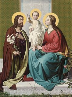 Bernhard Plockhorst, The Holy Family Catholic Art, Catholic Saints, Religious Images, Religious Art, Jesus Face, Blessed Mother Mary, Jesus Pictures, Holly Pictures, Mary And Jesus