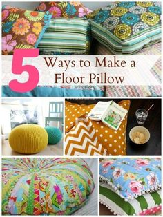 Sewing Pillows Five sewing DIY tutorials to make floor pillows and poufs. DIY sewing projects for decorative pillows. Diy Sewing Projects, Sewing Crafts, Craft Projects, Diy Crafts, Sewing Diy, Sewing Tutorials, Sewing Hacks, Free Tutorials, Floor Pillows And Poufs
