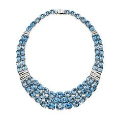 Amsterdam Sauer Necklaces - Blue Topaz and Diamond Necklace - White Gold - In 18-kt white gold with blue topaz and diamond.