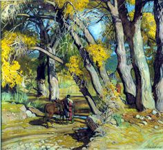 These trees are beautiful! Beneath the Cottonwoods by Ernest Martin Hennings