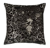 BLACKBIRD Throw Pillow - Kaisi Koivumäki - The Blackbird throw pillow is featured in gorgeous black and gold. A very beautiful and cute design from Finland.