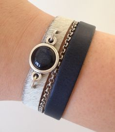 Armband Breed Leer Vacht Wit Blauw