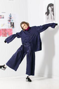 Collar Shirts, Collars, Cutaway, Black Stripes, Harem Pants, Clothes For Women, Sleeves, Blue, Fashion