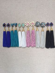 Multi Stud Beaded Tassel Earrings: