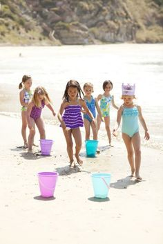 Mermaid Relay Race = dip 'n dash using shells to carry the water from one bucket to the next