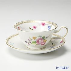 Wedgwood Rose Gold tea cup and saucer (Peony)