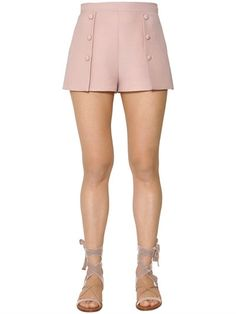 VALENTINO, Wool & silk crepe shorts, Pink, Luisaviaroma - Concealed side zip closure with hook . Decorative buttons on front . Valentine's Day Outfit, Inspiration Mode, Cute Shorts, Western Outfits, Silk Crepe, Casual, Summer Outfits, Short Dresses, Barbie