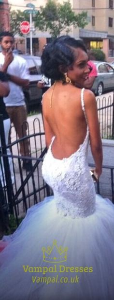 Spaghetti Strap Lace Backless Drop Waist Tulle Mermaid Wedding Dress