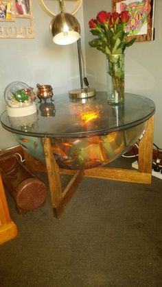Danish Mid Century Retro Coffee Table Fish Tank Wooden Cradle Larger Of The Set Of 3